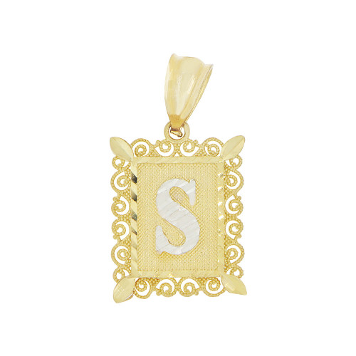 14k Yellow Gold White Rhodium, Small Initial Letter S Pendant Charm Sparkling Filigree 12mm Wide (P043-069)
