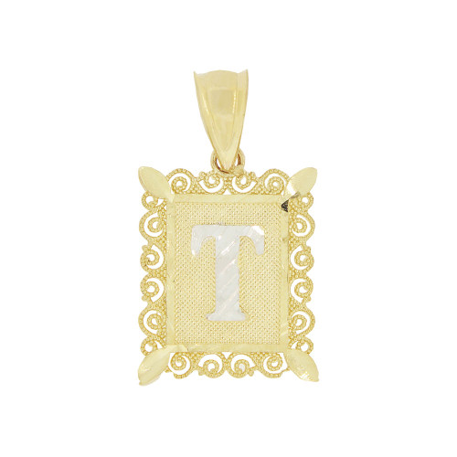 14k Yellow Gold White Rhodium, Small Initial Letter T Pendant Charm Sparkling Filigree 12mm Wide (P043-070)