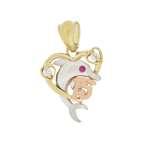 14k Tricolor Gold, 15 Anos Heart Dolphin Quinceanera Pendant Charm Created CZ (P044-001)
