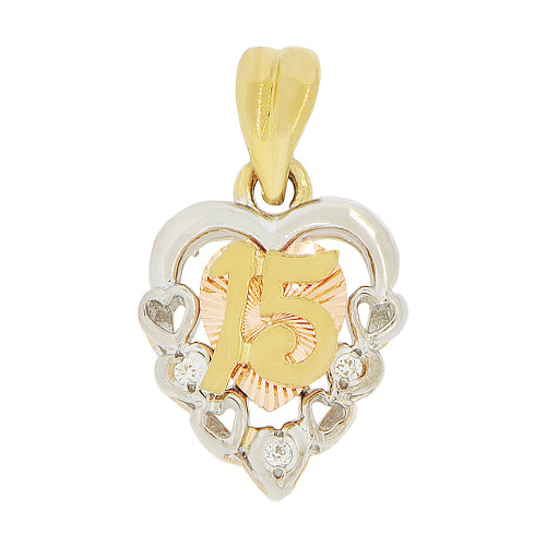 14k Tricolor Gold, 15 Anos Modern Hearts Quinceanera Pendant Charm Created CZ 12mm (P044-006)