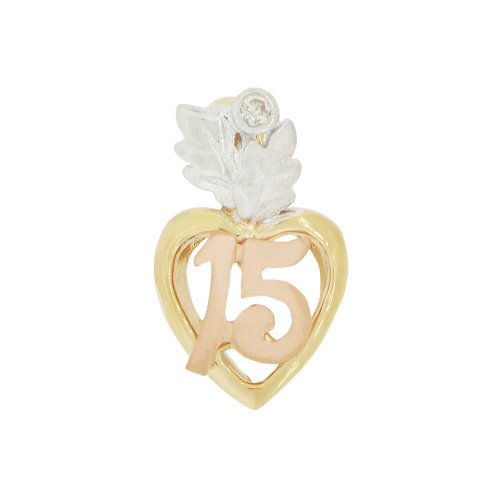 14k Tricolor Gold, 15 Anos Small Modern Heart Quinceanera Pendant Charm Created CZ (P044-009)