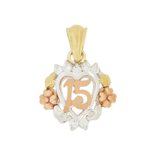 14k Tricolor Gold, 15 Anos Modern Hearts Flower Rose Quinceanera Pendant Charm Created CZ (P044-010)