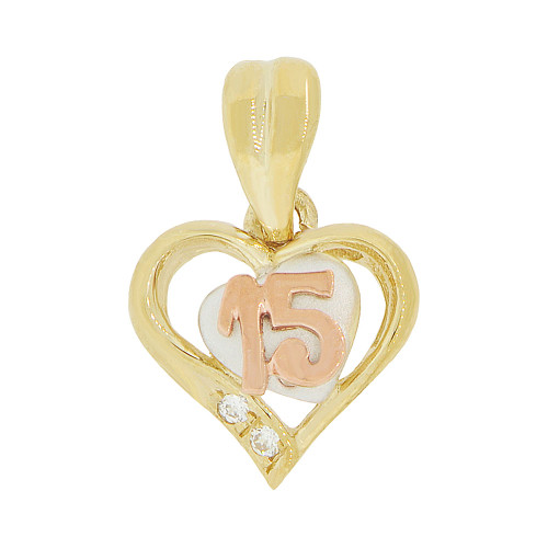 14k Tricolor Gold, 15 Anos Small Heart Quinceanera Pendant Charm Created CZ 11mm (P044-011)