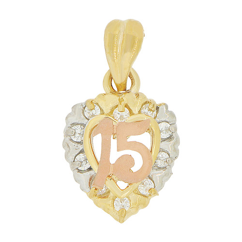 14k Tricolor Gold, 15 Anos Heart Quinceanera Pendant Charm Created CZ 12mm (P044-013)