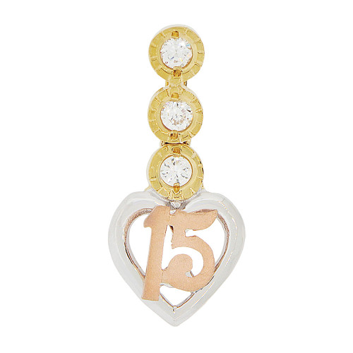 14k Tricolor Gold, 15 Anos Heart Quinceanera Pendant Dangling Charm Created CZ 11mm (P044-016)