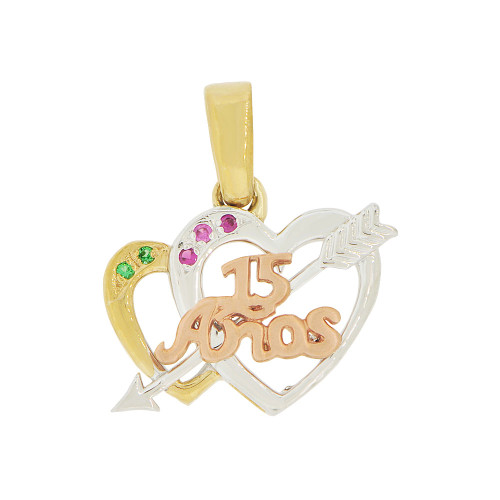 14k Tricolor Gold, 15 Anos Double Heart & Arrow Quinceanera Pendant Charm Created CZ (P044-020)