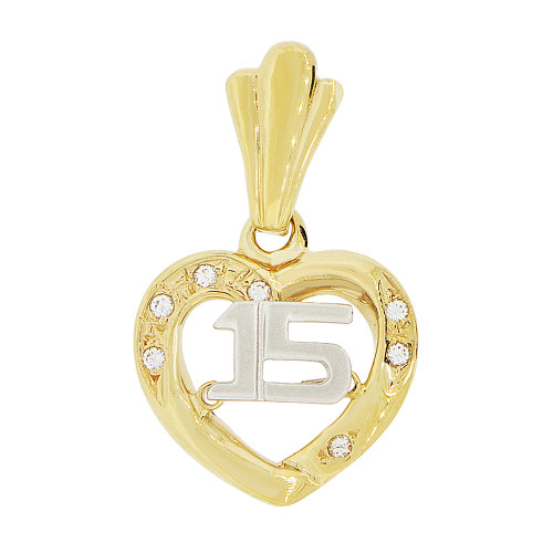 14k Yellow & White Gold, 15 Heart Quinceanera Pendant Charm Created 15mm (P044-021)