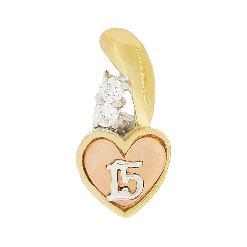 14k Tricolor Gold, Small 15 Anos Heart Quinceanera Pendant Charm Created CZ 8mm (P045-009)