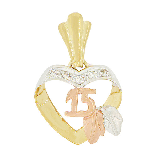 14k Tricolor Gold, 15 Anos Heart Quinceanera Pendant Charm Created CZ 16mm (P045-014)
