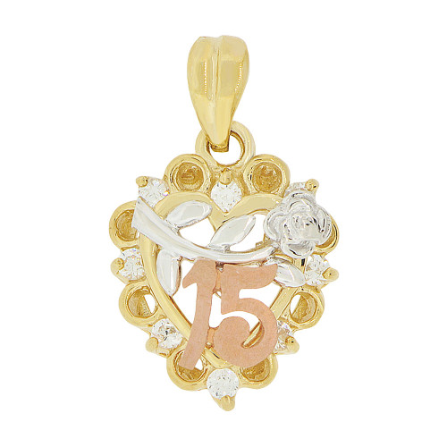 14k Tricolor Gold, 15 Anos Heart & Rose Quinceanera Pendant Charm Created CZ 14mm (P045-018)