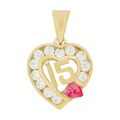 14k Yellow Gold, Heart 15 Anos Quinceanera Pendant Charm Red White Created Jan CZ (P045-101)