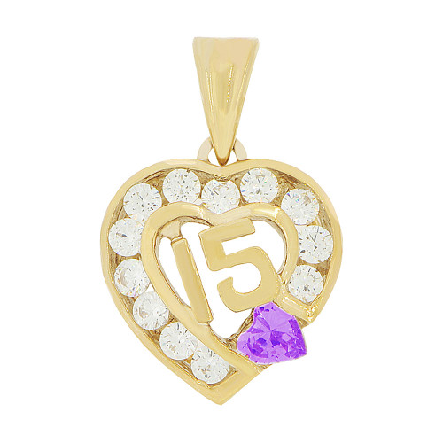 14k Yellow Gold, Heart 15 Anos Quinceanera Pendant Charm Purple White Created Feb CZ (P045-102)