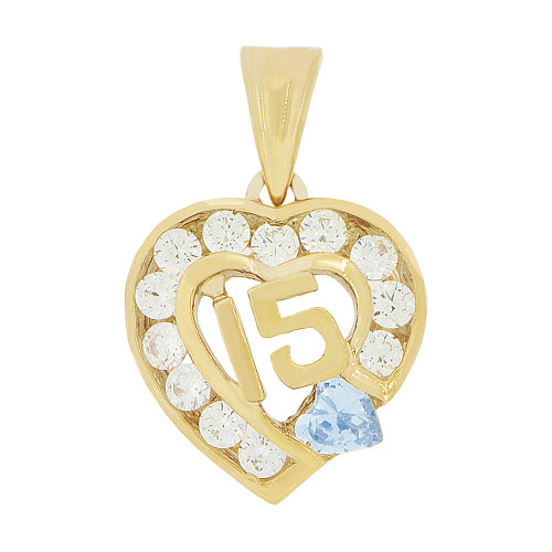 14k Yellow Gold, Heart 15 Anos Quinceanera Pendant Charm Aqua Blue White Created Mar CZ (P045-103)