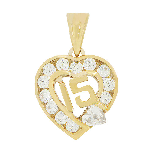 14k Yellow Gold, Heart 15 Anos Quinceanera Pendant Charm White Created Apr CZ (P045-104)