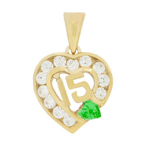 14k Yellow Gold, Heart 15 Anos Quinceanera Pendant Charm Green White Created May CZ 14mm (P045-105)