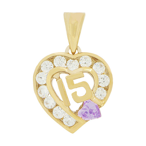 14k Yellow Gold, Heart 15 Anos Quinceanera Pendant Charm Violet White Created Jun CZ 14mm (P045-106)