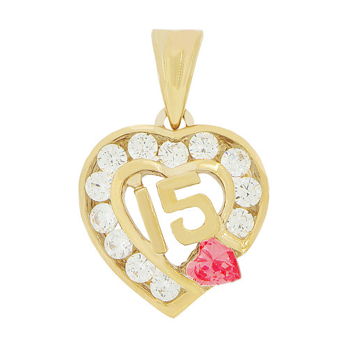 14k Yellow Gold, Heart 15 Anos Quinceanera Pendant Charm Red White Created Jul CZ 14mm (P045-107)