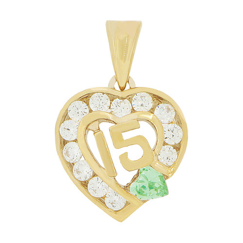 14k Yellow Gold, Heart 15 Anos Quinceanera Pendant Charm Green White Created Aug CZ 14mm (P045-108)