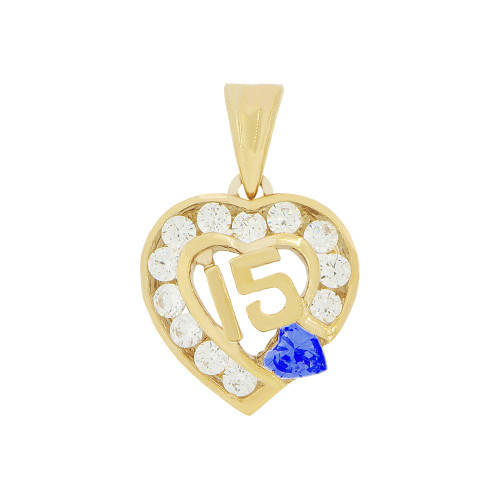 14k Yellow Gold, Heart 15 Anos Quinceanera Pendant Charm Blue & White Created Sep CZ 14mm Wide (P045-109)