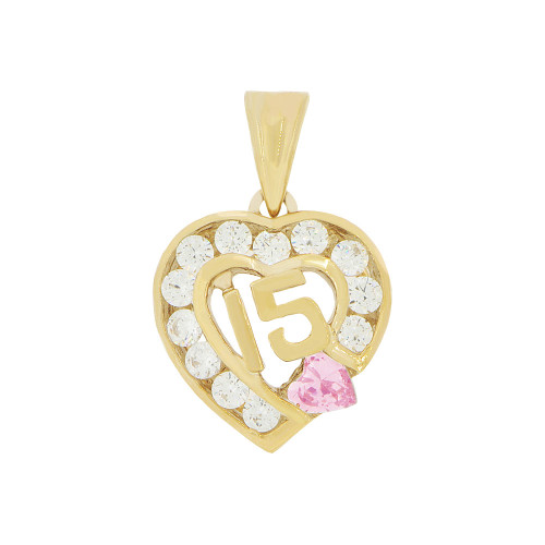 14k Yellow Gold, Heart 15 Anos Quinceanera Pendant Charm Pink & White Created Oct CZ 14mm Wide (P045-110)