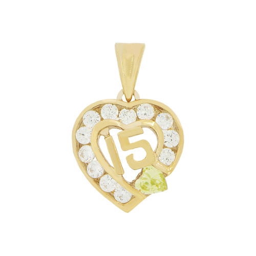 14k Yellow Gold, Heart 15 Anos Quinceanera Pendant Charm Yellow & White Created Nov CZ 14mm Wide (P045-111)