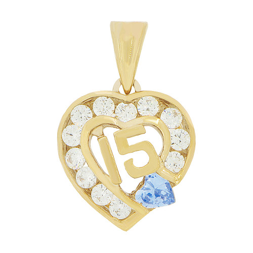 14k Yellow Gold, Heart 15 Anos Quinceanera Pendant Charm Blue White Created Dec CZ 14mm (P045-112)