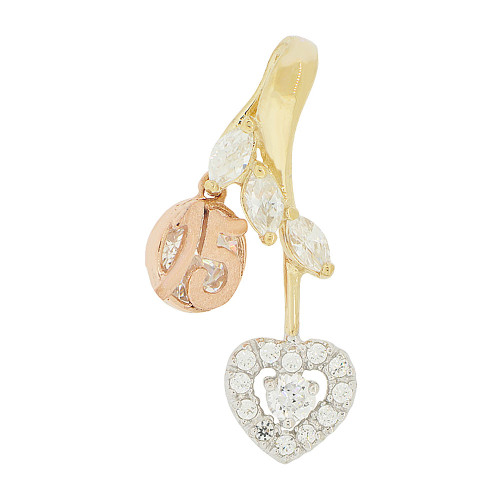 14k Tricolor Gold, 15 Heart Quinceanera Pendant Charm Heart Created CZ 13mm (P046-023)