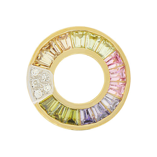 14k Yellow Gold, Doughnut Style Slider Pendant Charm Colored Created CZ 13mm (P047-002)