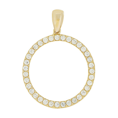 14k Yellow Gold, Circle of Life Pendant Circular Round Charm Created CZ 20mm (P047-006)