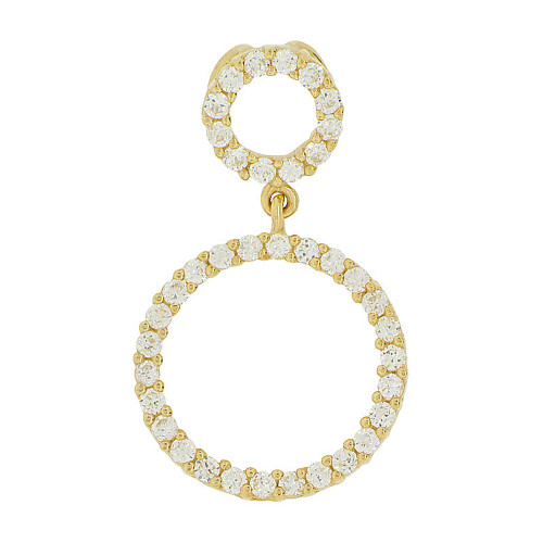 14k Yellow Gold, Double Ring Circle of Life Pendant Circular Round Charm Created CZ 15.5mm (P047-008)