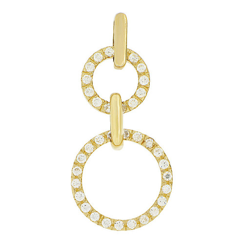 14k Yellow Gold, Double Ring Circle of Life Pendant Circular Round Charm Created CZ 15.5mm (P047-009)