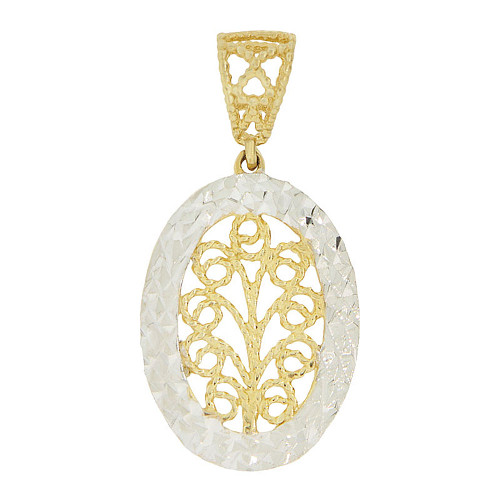 14k Yellow Gold White Rhodium, Fancy Filigree Oval Pendant Charm Sparkly Cuts 15mm (P047-013)