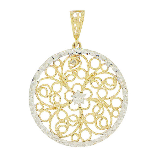 14k Yellow Gold White Rhodium, Fancy Filigree Wheel Pendant Charm Sparkly Cuts 26mm (P047-015)