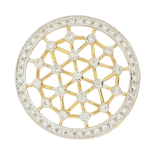 14k Yellow Gold White Rhodium, Round Disk Wheel Slider Pendant Charm Created CZ 29mm (P047-016)