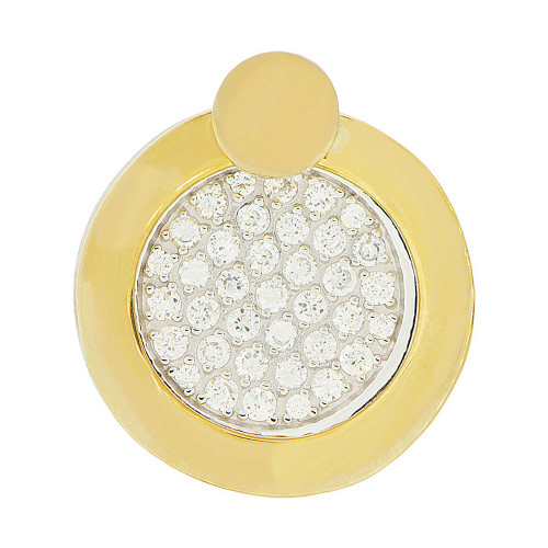 14k Yellow & White Gold, Double Layer Wheel Disk Pendant Charm Created CZ 24mm (P047-021)