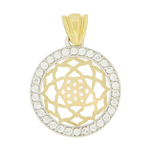 14k Yellow Gold White Rhodium, Round Disk Pendant Charm Created CZ 19.5mm (P047-022)