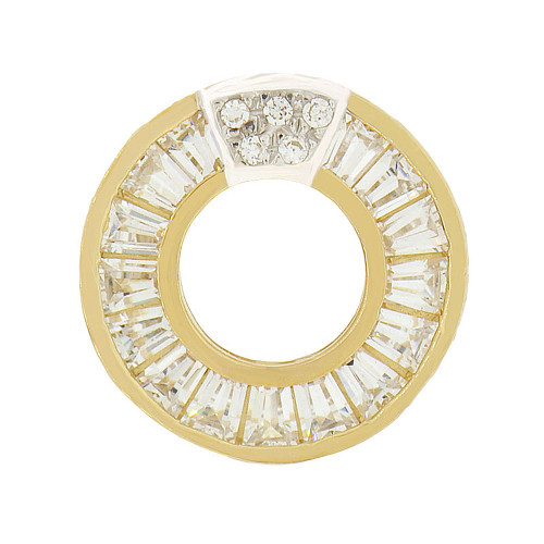 14k Yellow Gold, Doughnut Style Slider Pendant Charm Created CZ Crystals 13mm (P047-052)