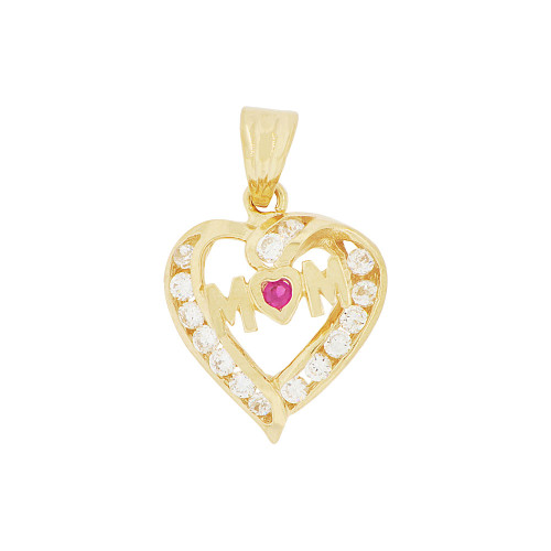 14k Yellow Gold, Mom Heart Pendant Charm Created CZ (P048-003)