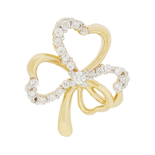 14k Yellow Gold, Good Luck Four Leaf Clover Pendant Charm Created CZ 16mm (P048-021)