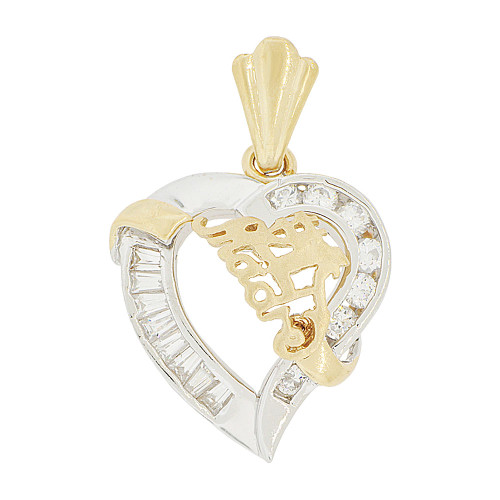 14k Yellow & White Gold, #1 Madre Heart Mom Pendant Charm Created CZ 20mm (P048-063)
