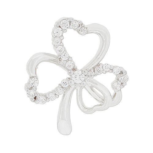 14k Gold White Rhodium, Good Luck Four Leaf Clover Pendant Charm Created CZ 16mm (P048-071)