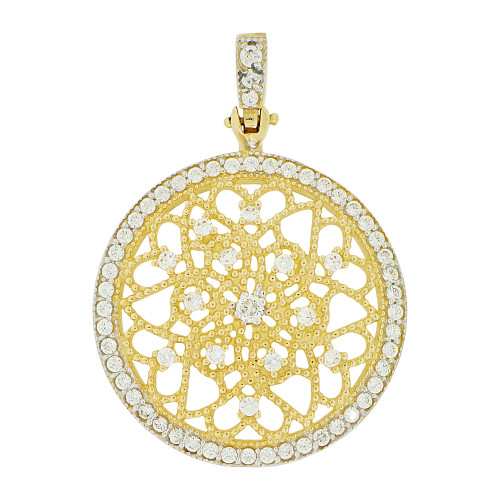 14k Yellow Gold White Rhodium, Fancy Filigree Wheel Pendant Charm Created CZ 28mm (P049-009)