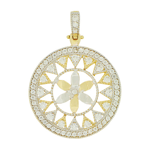14k Yellow Gold White Rhodium, Fancy Wheel Flower Pendant Charm Created CZ 28mm (P049-010)