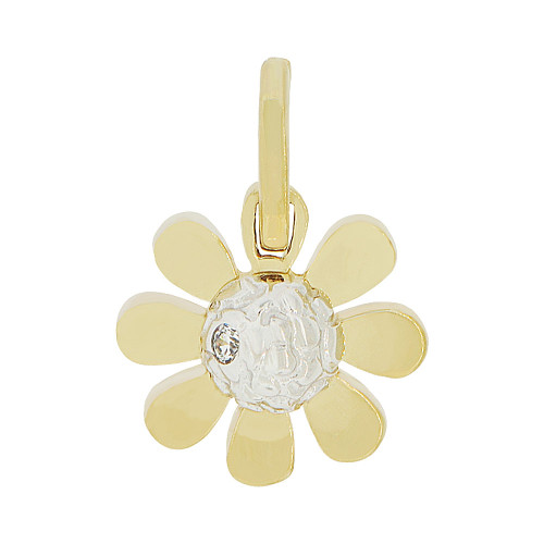 14k Yellow Gold White Rhodium, Modern Small Flower Pendant Charm Created CZ 12mm (P049-011)