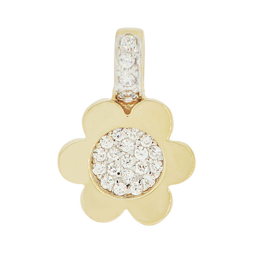 14k Yellow Gold White Rhodium, Modern Small Flower Pendant Charm Created CZ 12mm (P049-012)