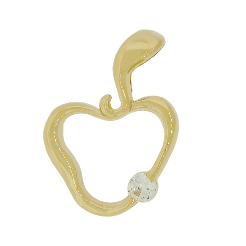 14k Yellow Gold, Small Apple Pendant Charm Created CZ Crystal 11mm (P049-016)