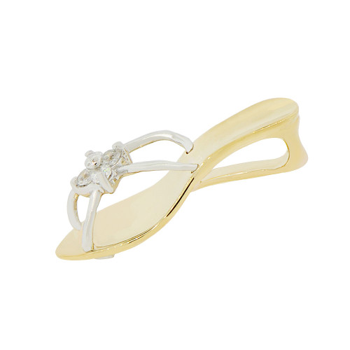 14k Yellow & White Rhodium, Summer Sandal Shoe Pendant Charm Created CZ (P049-017)