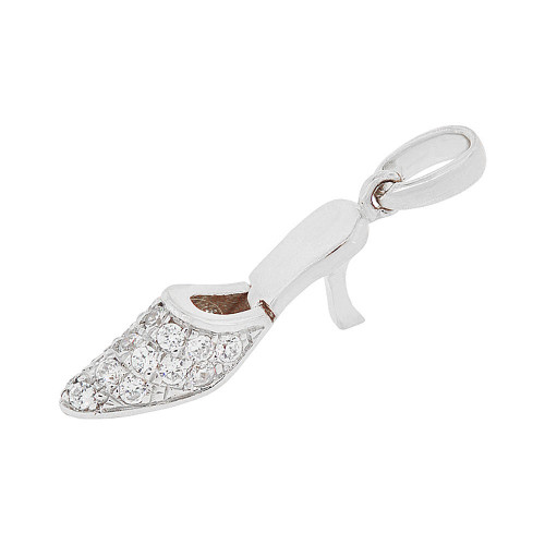 14k Gold White Rhodium, High Heel Shoe Pendant Charm Created CZ 5.5mm (P049-053)