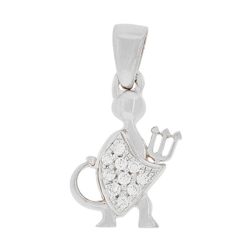 14k Gold White Rhodium, Cute Devil Satan Lucifer Pendant Charm Created CZ 11.5mm (P049-055)