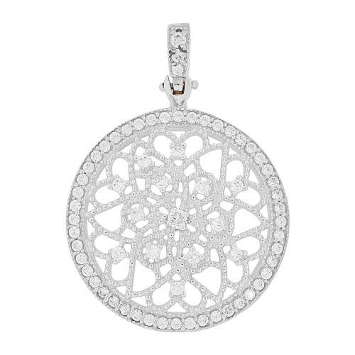 14k Gold White Rhodium, Fancy Filigree Wheel Pendant Charm Created CZ 28.5mm (P049-059)